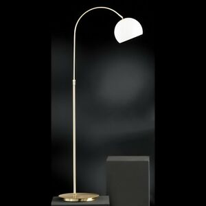 stehleuchte stehlampe bogenlampe bogenleuchte bogenarm messing matt wei led ebay. Black Bedroom Furniture Sets. Home Design Ideas