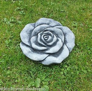 stein bl te blume frostfest garten deko steinguss skulptur rose grau rosenbl te ebay. Black Bedroom Furniture Sets. Home Design Ideas