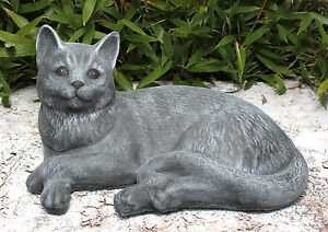 Steinfigur-Katze-liegend-Schiefergrau-Gartendeko-Gartenfigur-Dekofigur-frostfest