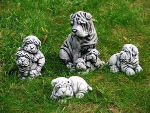 Steinfigur-Nr-082-Hund-Welpe-Sharpei-Familie-4-Teile-ca-6-3-kg-Frostfest-Stein