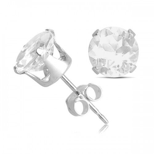 Sterling Silver 2 Carat White Topaz Silver Stud Earrings With Butterfly Backs