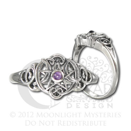 Sterling Silver Heart Pentacle Pentagram Amethyst Ring Dryad Design Wicca Pagan in Jewelry & Watches, Fine Jewelry, Fine Rings | eBay