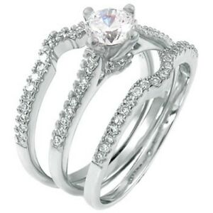 Sterling Silver Wedding Set Size 6 CZ Solitaire Bridal 3 Ring Engagement 925 W06