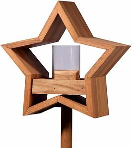 stern design vogelhaus mit st nder aus eiche holz vogelfutterhaus vogelh uschen ebay. Black Bedroom Furniture Sets. Home Design Ideas