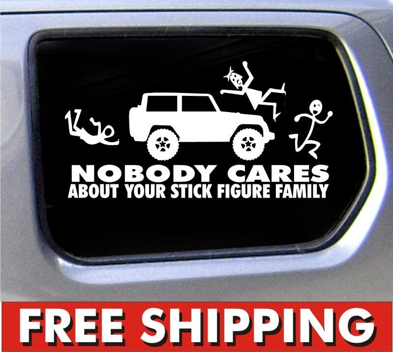 Stick Figure Jeep Family Nobody Cares Truck Funny Stickers Car Decal Bumper