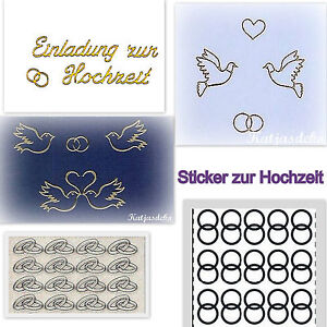 sticker einladung zur hochzeit taube herz gold silber ebay. Black Bedroom Furniture Sets. Home Design Ideas
