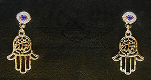 stilvolle ohrringe hand der fatima in 24 karat 999er vergoldet mit auge strass ebay. Black Bedroom Furniture Sets. Home Design Ideas
