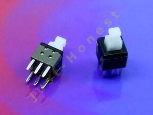 Stk-2x-MINI-Schalter-Switch-6mm-x-6mm-LATCHING-Mikroschalter-THT-PCB-A284