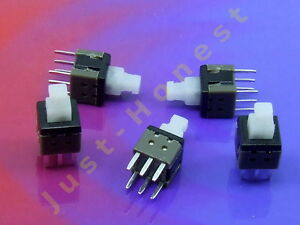 Stk-5-x-MINI-Schalter-Switch-6mm-x-6mm-LATCHING-Mikroschalter-THT-PCB-A283