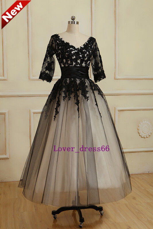 2014 stock black tea length lace tulle a line wedding for Black tea length wedding dress