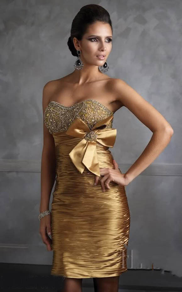 Stock short cocktail gold dress bridesmaid prom ball party evening