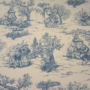 stoff meterware baumwolle toile de jouy frankrech natur blau rips romantisch neu. Black Bedroom Furniture Sets. Home Design Ideas
