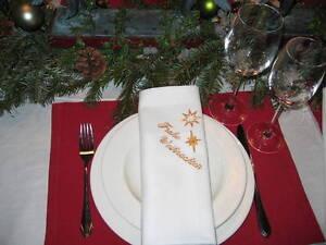 stoff servietten damast wei mit stickerei gold frohe weihnachten sterne neu ebay. Black Bedroom Furniture Sets. Home Design Ideas