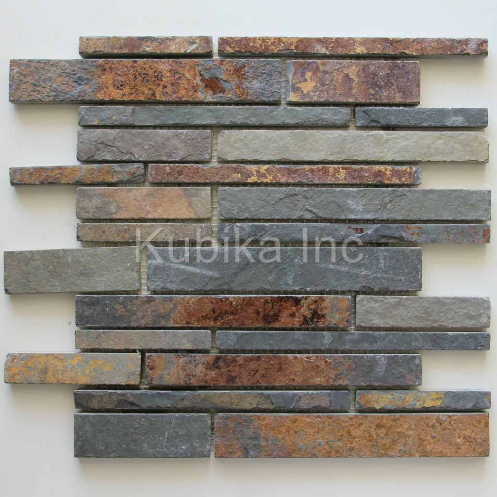 stone mosaic tile kitchen backsplash multicolor slate