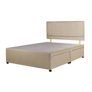 Stone suede divan bed base double 4ft small single 3ft for Super king size divan bed with storage