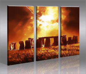 stonehenge 3 bilder auf leinwand wandbild poster england kunstdruck ebay. Black Bedroom Furniture Sets. Home Design Ideas