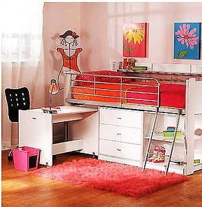Storage Loft Desk Bed Set Children Kids Girl Bedroom Ladder Trundle