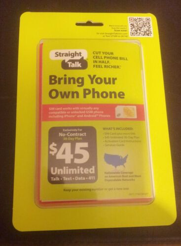 Straight Talk BYOP Kit (AT&T) w/3 Sim cards & $45 refill card in