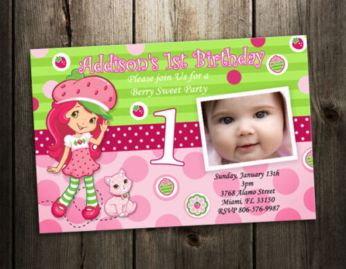 Strawberry Shortcake BIRTHDAY PARTY INVITATION TICKET CARD CUSTOM INVITES 1ST in Specialty Services, Printing & Personalization, Invitations & Announcements | eBay