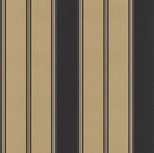 Streifentapete schwarz gold gl nzend gestreift von rasch for Tapeten von rasch