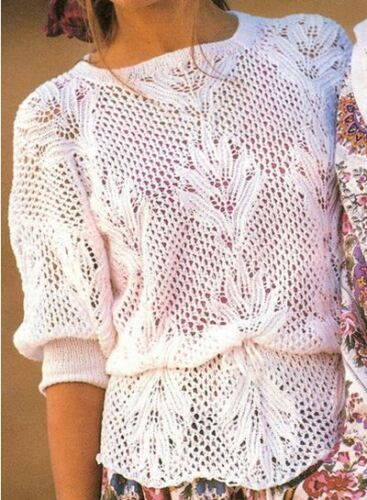 Vintage Knitting Patterns : Vintage 80s Peplum Jumper Knitting Pattern