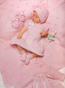 "baby rosebud Layette knitting pattern- fits 14-16"" chest in 4 ply wool"