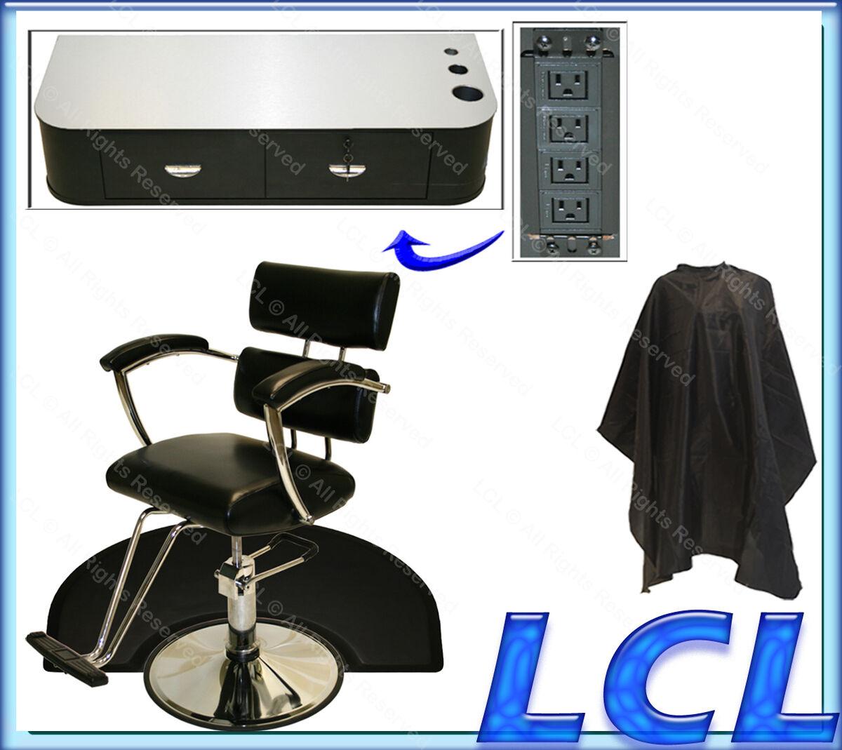 Sturdy Hydraulic Barber Chair Wall Mount Styling Station Mat Spa Salon Equipment