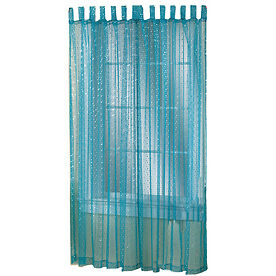 Style Selections 84 Quot L Blue Sequin Sheer Icicle Curtain