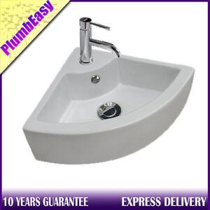 Corner Hand Wash Sink : ... Small Hand Wash Ceramic Cloakroom Corner Basin Sink 1 Tap Hole eBay