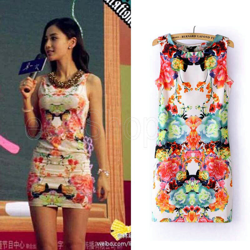 Summer New Women Floral Sexy Stretchy Sleeveless Vest Dresses Top T-shirt S M L