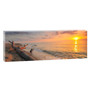 sundown bild strand meer keilrahmen leinwand posterxxl 120cm 40cm 547 ebay. Black Bedroom Furniture Sets. Home Design Ideas