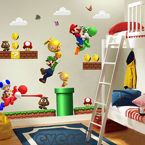 super mario 100x65cm wandtattoo wandsticker wandaufkleber kinderzimmer deko ebay. Black Bedroom Furniture Sets. Home Design Ideas