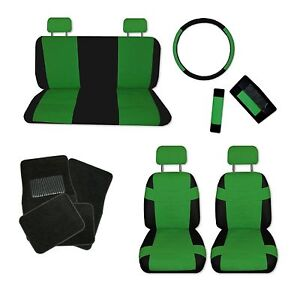 Superior Faux Leather Green Black Car Seat Covers Set And