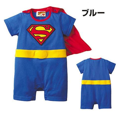 Superman Suit Fancy Dress Superhero Costume for Baby Toddler Kid Boy Romper Gift