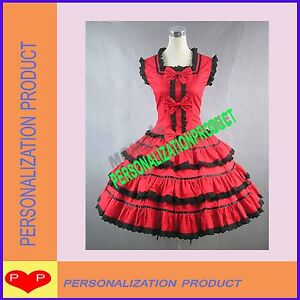 Lace Dress on Cosplay Knee Length Cute Bows Black Lace Red Ball Gown Dress   Ebay