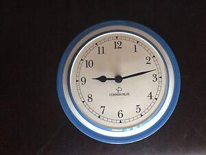 T g green cornishware cornish blue cloverleaf kitchen wall for Blue kitchen wall clocks