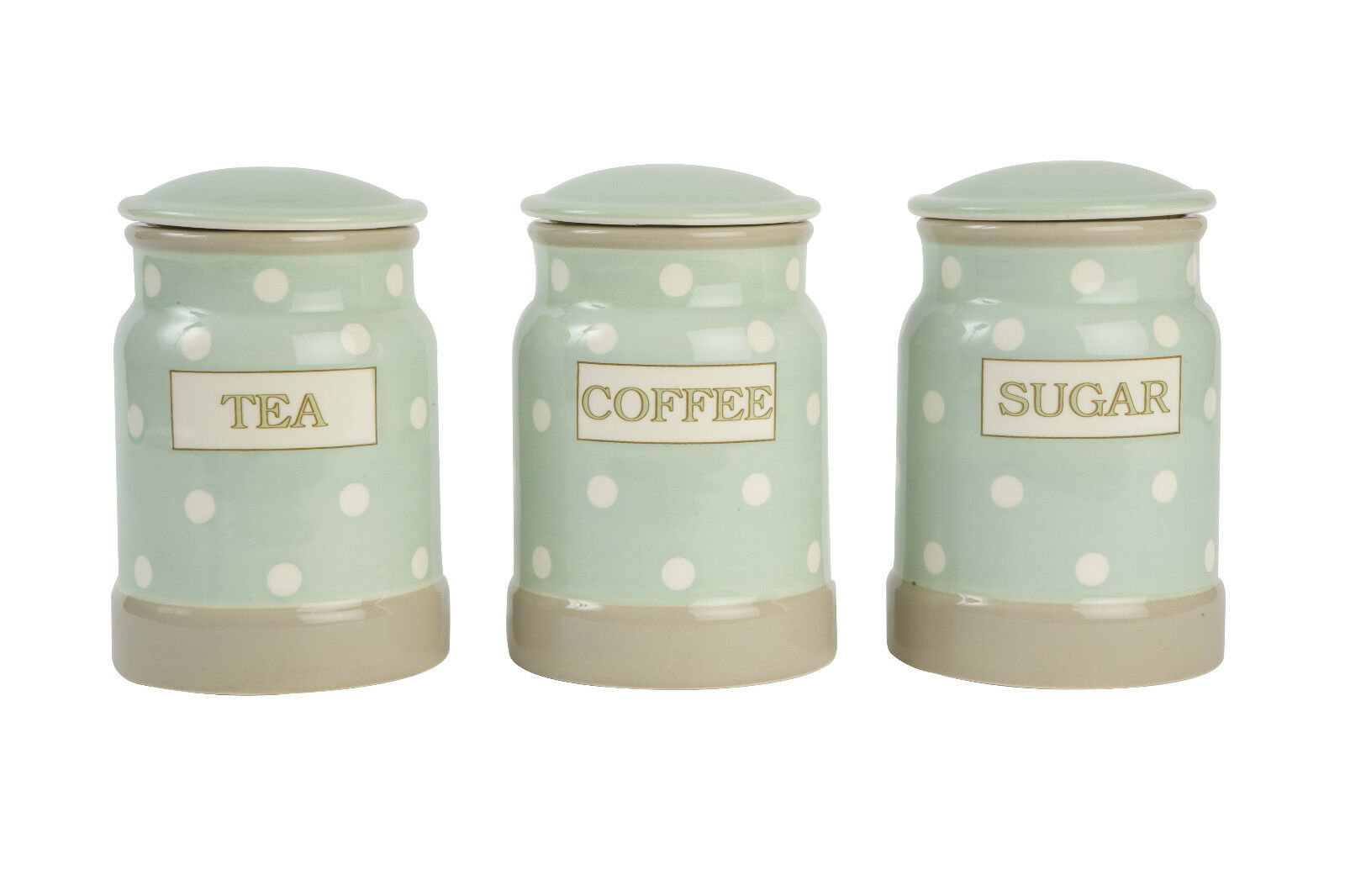 t g woodware cream country mint spot tea coffee sugar jars. Black Bedroom Furniture Sets. Home Design Ideas