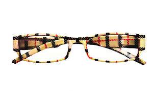 tartan framed reading glasses different lens strength