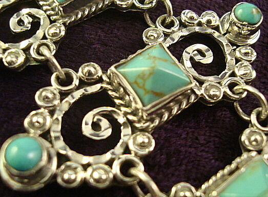 TAXCO MEXICAN STERLING SILVER TURQUOISE BEADED BEAD SCROLL BRACELET