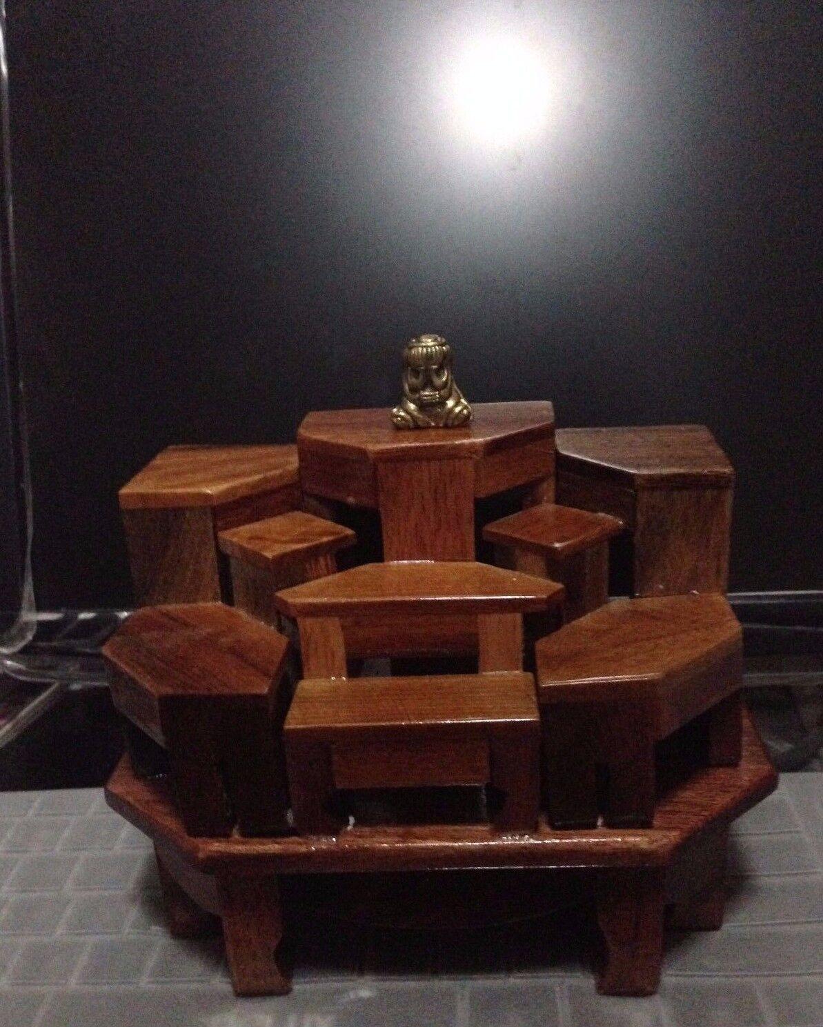 Buddha Statue Stand Wood Table Altar Exotic Lumber 9 Mini Dollhouse