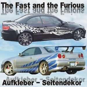 the fast and the furious aufkleber seitenaufkleber. Black Bedroom Furniture Sets. Home Design Ideas