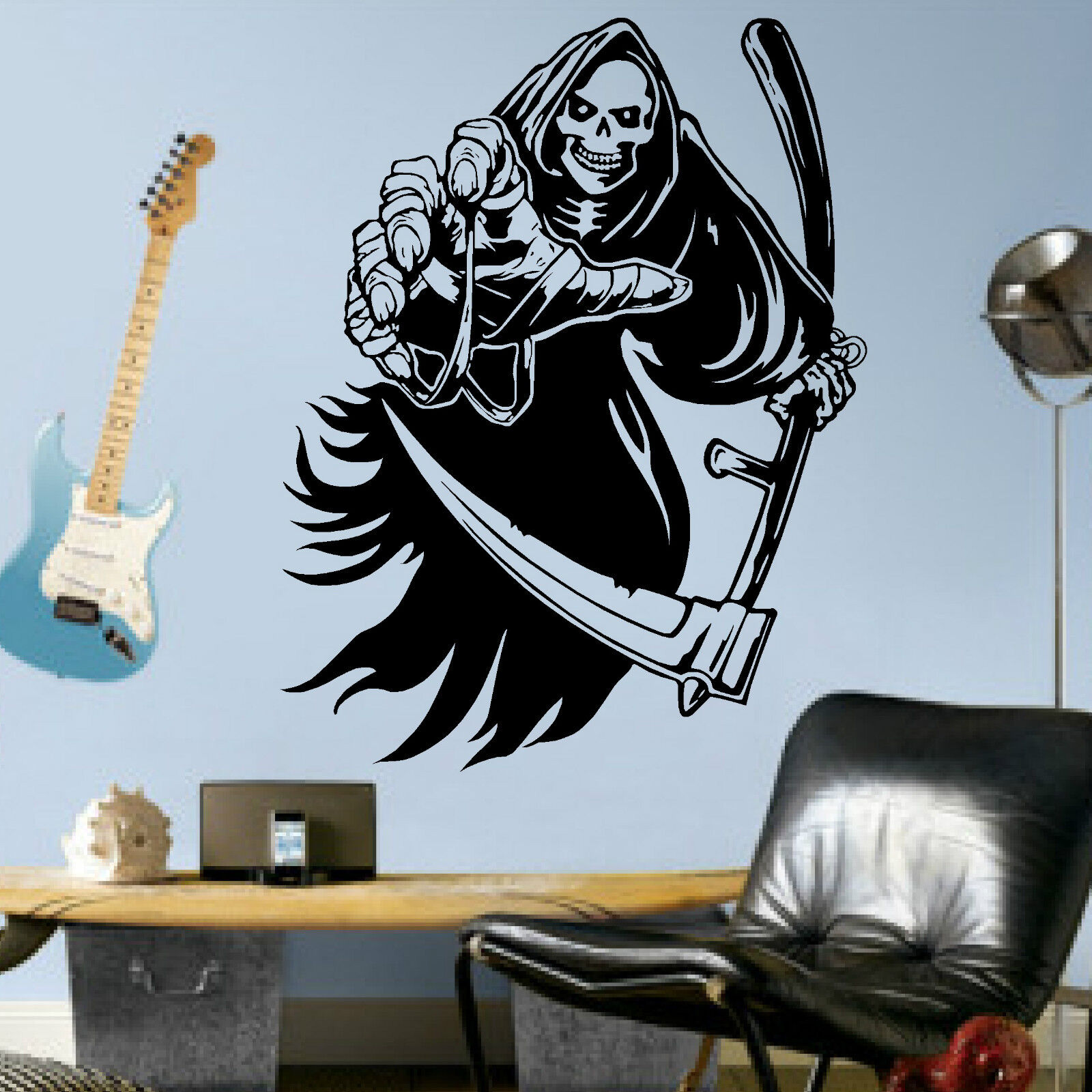 Sheeting for bathroom walls - The Grim Reaper Vinyl Wall Art Decal Sticker Ebay