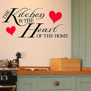 The Kitchen Is The Heart Of The Home Quote Vinyl Wall Art Sticker Room Decal Ebay
