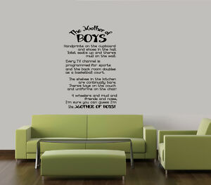 The Mother of Boys Family Quote Vinyl Home Decor Words