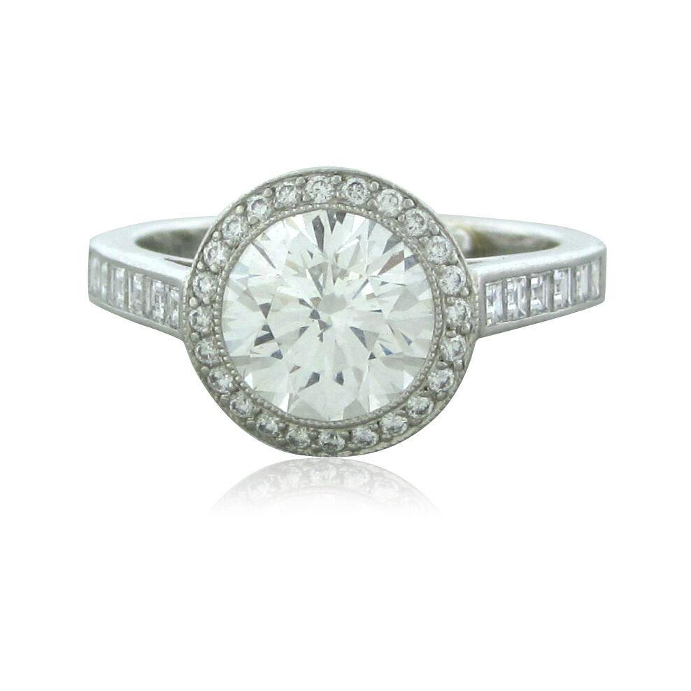 Tiffany Amp Co Bead Set Border Platinum 177ct G VVS2 Diamond Engagement Ring