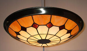 TIFFANY-STYLE-BISTRO-UPLIGHTER-LARGE-SHADE-Beige-Amber-61