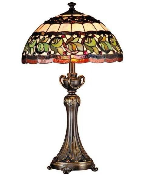 tiffany style real stained glass large table lamp. Black Bedroom Furniture Sets. Home Design Ideas