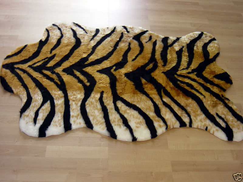 TIGER FAUX FUR RUG ANIMAL SKIN PELT RUG 3x5 NEW