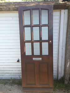 back wooden wood door solid glazed glass external exterior ebay