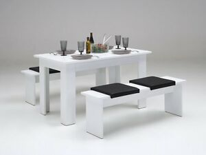 tischgruppe esstisch tisch bank 4 x klemmkissen esszimmer 140 x 80 cm weiss neu ebay. Black Bedroom Furniture Sets. Home Design Ideas